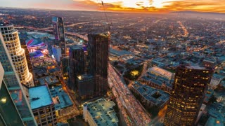 Twilight time-lapse of Downtown Los Angeles from high above