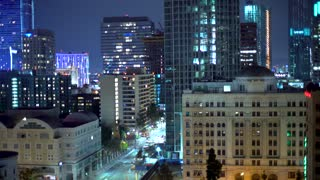 View of Downtown Los Angeles buildings at night