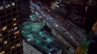View of Downtown Los Angeles traffic at night