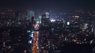 View of Shibuya, Tokyo at night from high above