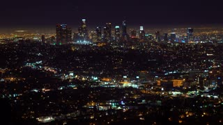 View of downtown Los Angeles from above at night