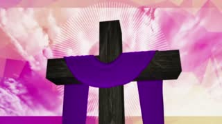 PCM Lent Cross Draped in Purple