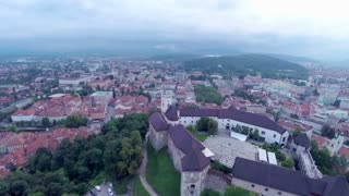 Aerial closing on Ljubljana castle