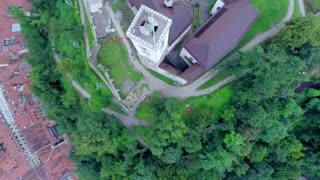 Aerial direct angle fly over Ljubljana castle