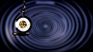 Analogue Hypnosis Pocket Watch Slow Motion. Antique pocket clock with hypnosis background.