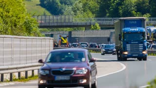 BLAGOVICA, SLOVENIA - MAY 2014: Road Signs on Highway Traffic Jam. Traffic Jam on Highway on Slovenia highway because of accident and road redirection.
