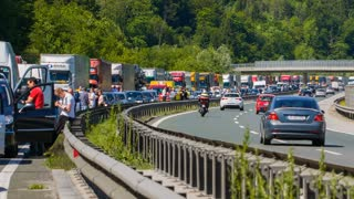 BLAGOVICA, SLOVENIA - MAY 2014: Summer Highway Traffic Jam. Traffic Jam on Highway on Slovenia highway because of accident and road redirection.