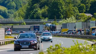 BLAGOVICA, SLOVENIA - MAY 2014: Traffic Disaster On Highway. Traffic Jam on Highway on Slovenia highway because of accident and road redirection.