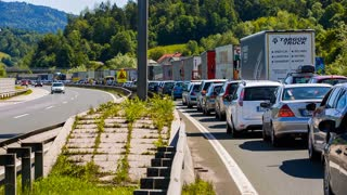 BLAGOVICA, SLOVENIA - MAY 2014: Traffic Standing Still on Highway. Traffic Jam on Highway on Slovenia highway because of accident and road redirection.