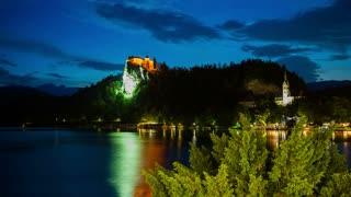 Bled castle night timelapse 4K