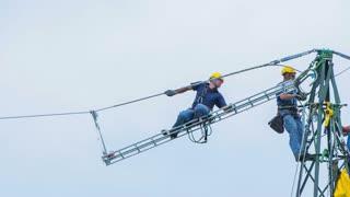 Dangerous job on power lines