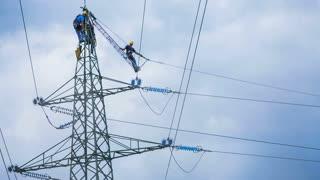 Electric crew repair power lines
