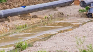 Gas line building pipes panning over