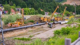 Gas line construction site wide shot