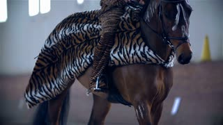 Horse in Tiger Dress Walking and Breathing Deeply