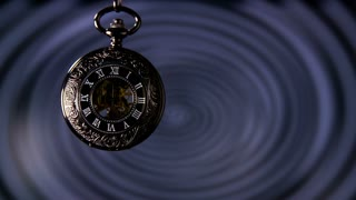 Hypnosis Pocket Watch Slow Motion. Antique pocket clock with hypnosis background.