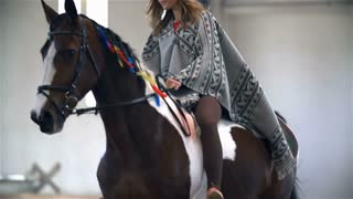 Indian Girl Riding Horse in Masquerade Slow Motion