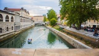 Ljubljana, Slovenia - April 2014: Jib Shoot of River To Love Locks on Bridge Fence