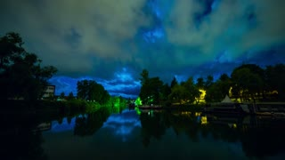 Ljubljanica river at night moon timelapse 4K