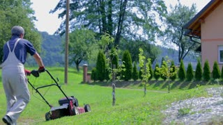 Mowing Lawn With Mower