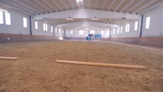 Riding Olympic Horse in Big Riding Hall