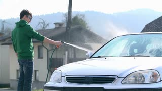 Slow Motion Car Wash With Spraying Water
