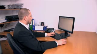 Slow Motion Office Business Man Looking At Clock