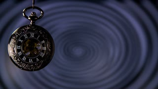 Swinging Pocket Watch Hypnosis in Slow motion. Antique pocket clock with hypnosis background.