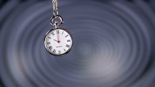 Swinging Small Pocket Watch Slow Motion. Classic pocket clock swinging in front of hypnosis spiral.