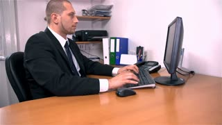 White-collar Worker in Office Checking Time in Slow Motion