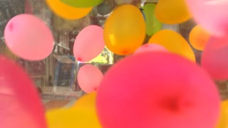 4k, Close up balloon be blown away in box