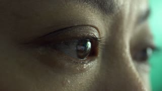 4k, Close up woman eye open up and looking