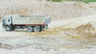 4K ,excavator scoop loads a dump truck