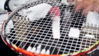 4K Stock footage of Man made weaving badminton racket, by auto machine
