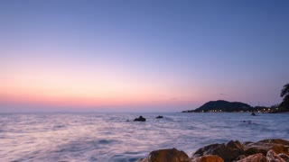 4K Timelapse Sunset, Sunrise on Ocean Beach, Sea View . Waves Time Lapse in Thailand, Twilight Sea Sun Landscape on CHUNTABURI, Thailand in Summer, Crepuscular, Dusk
