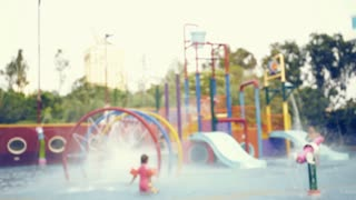 Colorful water park ,out of focus