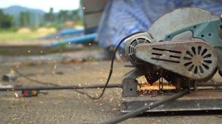 Cutting rebar slow motion