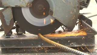 Cutting rebar slow motion