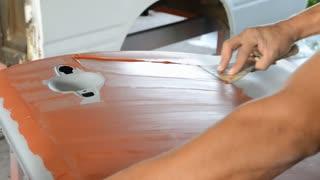 Engineer repair body car for painting next step .