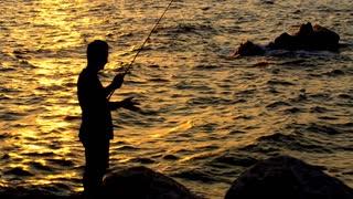 fisherman fishing at sunset, silhouette , 4K ,3840 2160