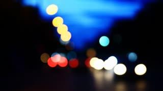 Flare night traffic lights-Bangkok THAILAND .
