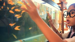 Happy asian child looking and surprise fish in fish tank