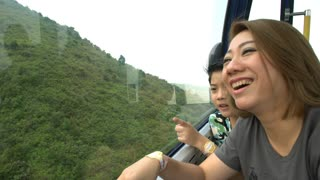 Happy asian family ,Mother and son in cable car