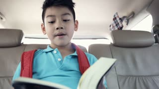 Little asian boy reading book in car