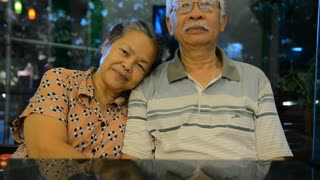 Portrait of old asian people, happy senior asia man and woman with white hair looking at camera and smiling. Sequence