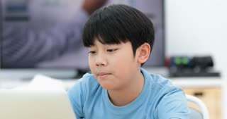 Cute asian boy using laptop computer at home.
