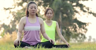 Young asian woman exercising in park on beautiful day.
