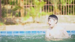 Young Asian boy having fun at pool ,Slow motion