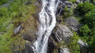 Aerial footage waterfall from the bird's-eye view, Norway