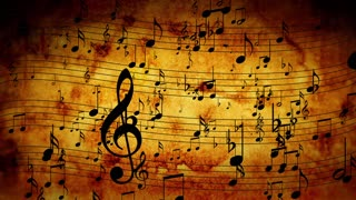 Animated background with musical notes, Music notes flowing, flying stream